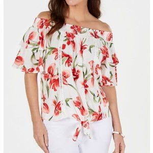 JM Collection M White Red Orchid Top NWT CQ45-6